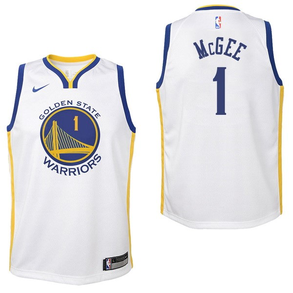 Maglia NBA Bambino Golden State Warriors NO.1 JaVale McGee Bianco Association 2017-2018