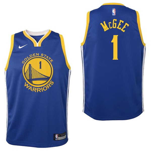 Maglia NBA Bambino Golden State Warriors NO.1 JaVale McGee Blu Icon 2017-2018