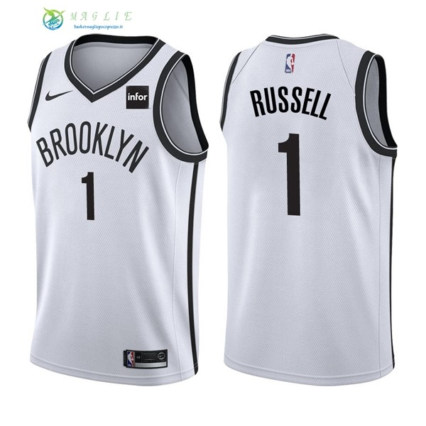 Maglia NBA Brooklyn Nets NO.1 D'Angelo Russell Bianco 2017-2018