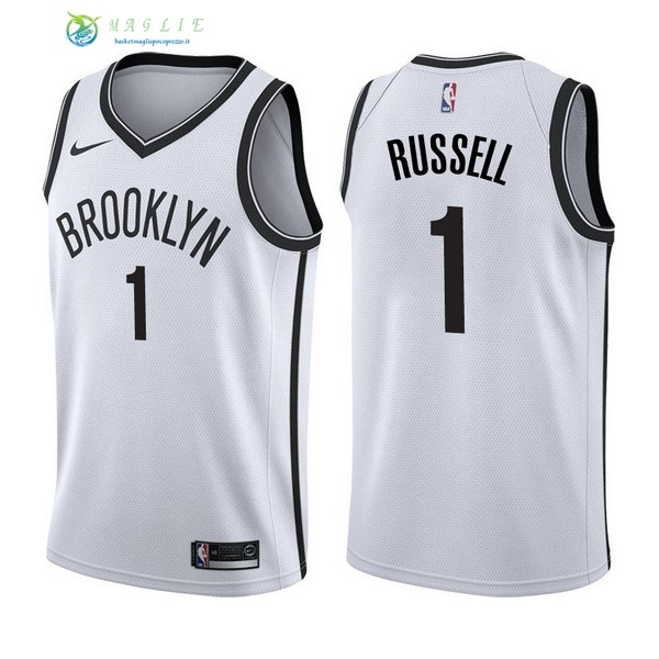 Maglia NBA Brooklyn Nets NO.1 D'Angelo Russell Bianco Association 2017-2018