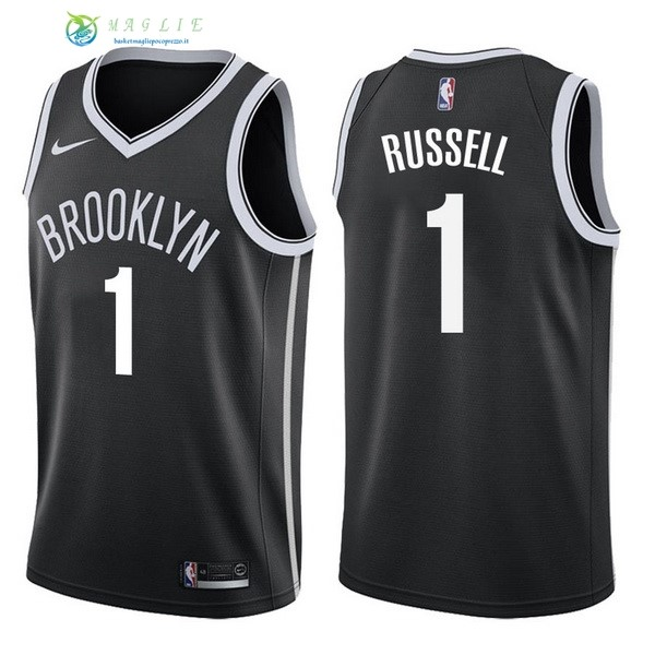 Maglia NBA Brooklyn Nets NO.1 D'Angelo Russell Nero Icon 2017-2018