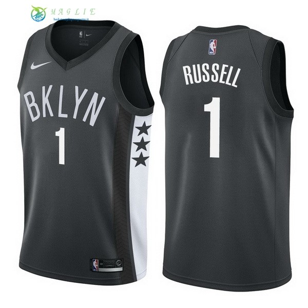 Maglia NBA Brooklyn Nets NO.1 D'Angelo Russell Nero Statement 2017-2018