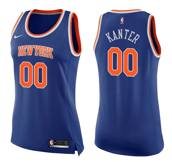 Maglia NBA Donna New York Knicks NO.0 Enes Kanter Blu Icon 2017-2018