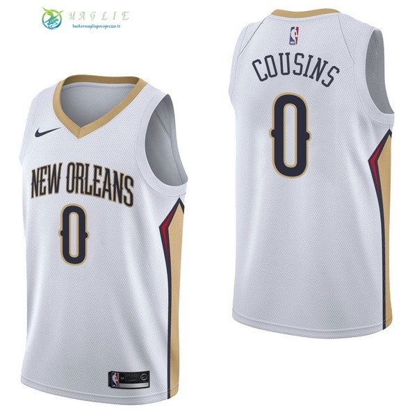 Maglia NBA New Orleans Pelicans NO.0 DeMarcus Cousins Bianco Association 2017-2018