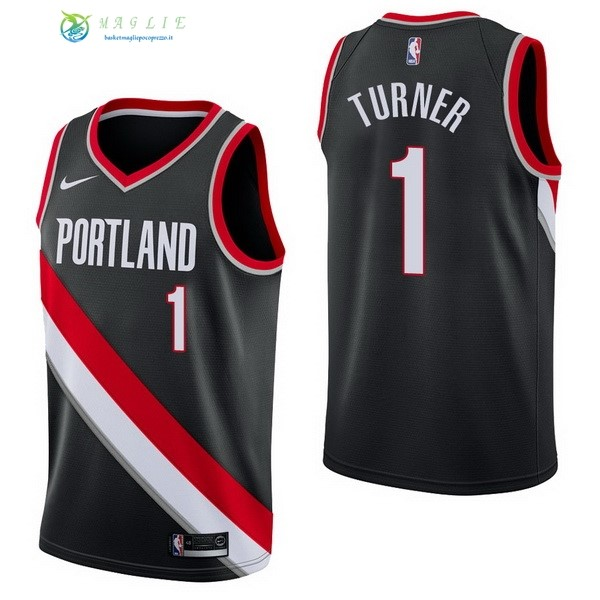 Maglia NBA Portland Trail Blazers NO.1 Evan Turner Nero Icon 2017-2018
