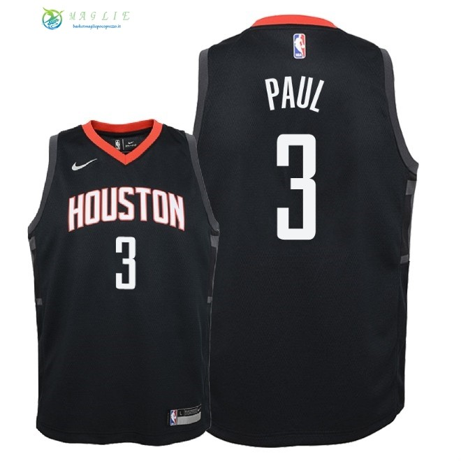 Maglia NBA Bambino Houston Rockets NO.3 Chris Paul Nero Statement 2018-19