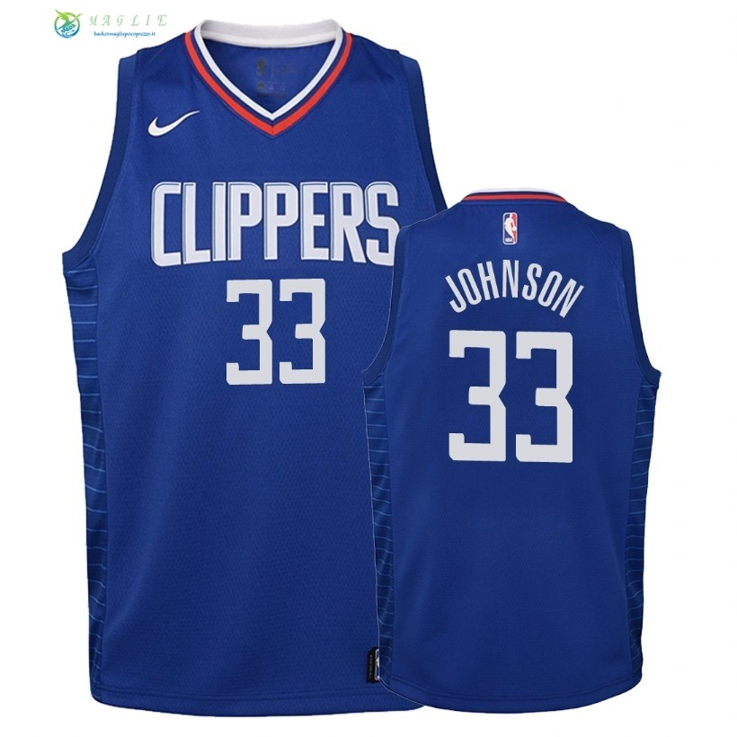 Maglia NBA Bambino L.A.Clippers NO.33 Wesley Johnson Blu Icon 2018