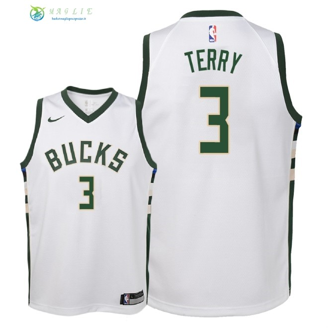 Maglia NBA Bambino Milwaukee Bucks NO.3 Jason Terry Bianco Association 2018
