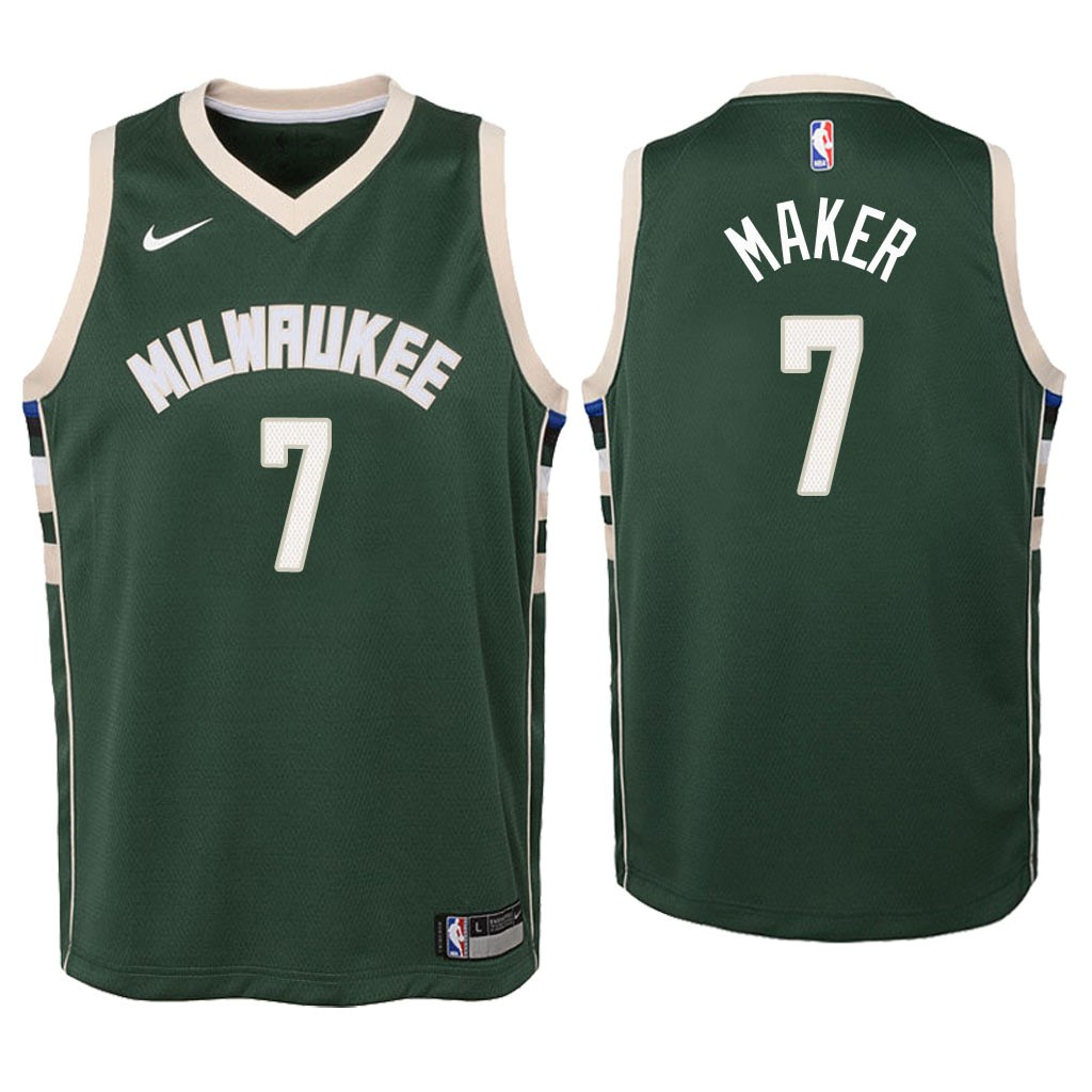Maglia NBA Bambino Milwaukee Bucks NO.7 Thon Maker Verde Icon 2018