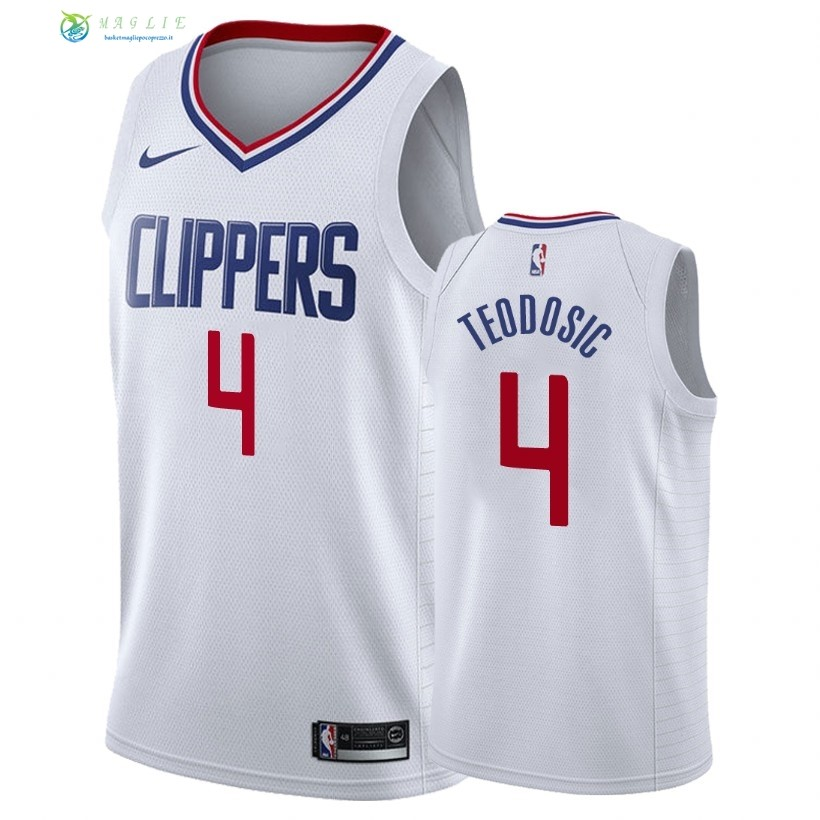 Maglia NBA Nike Los Angeles Clippers NO.4 Milos Teodisic Bianco Association 2018