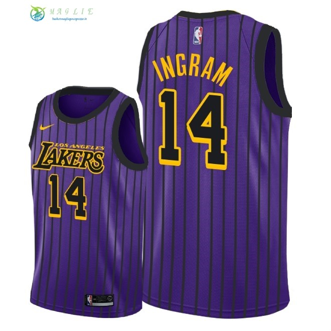 Maglia NBA Nike Los Angeles Lakers NO.14 Brandon Ingram Nike Porpora Città 2018-19