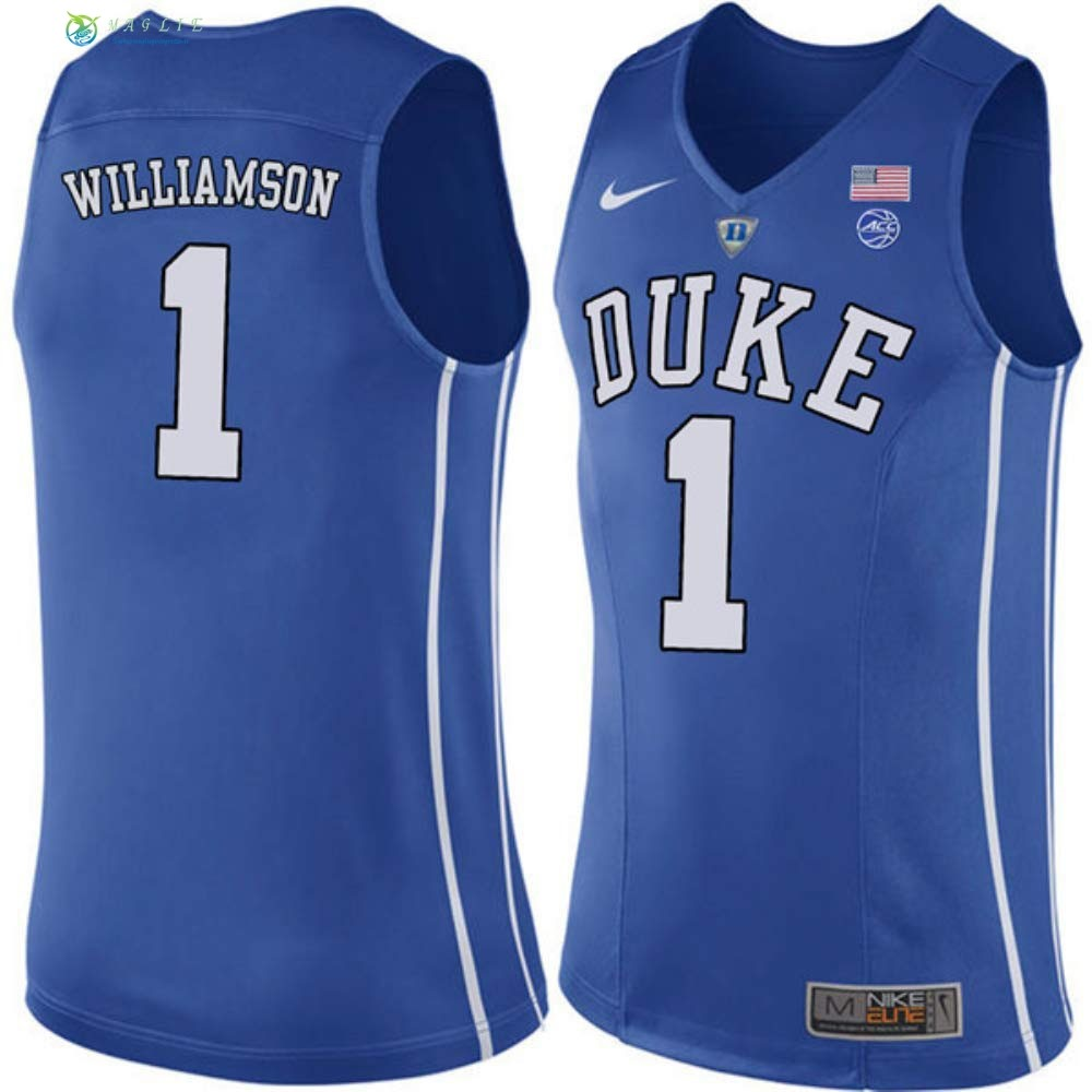 Maglia NCAA Duke NO.1 Zion Williamson Blu