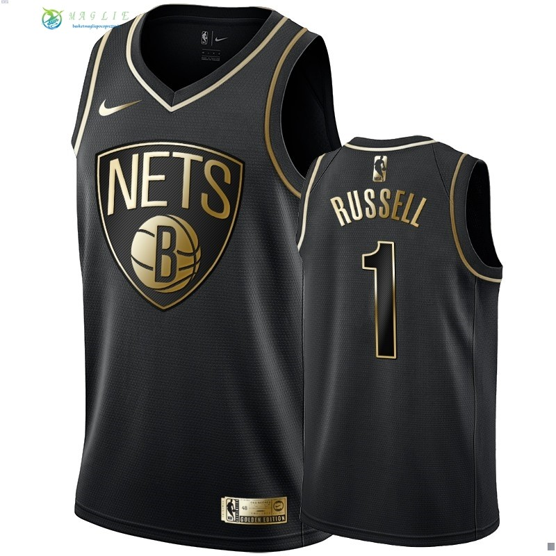 Maglia NBA Nike Brooklyn Nets NO.1 D'Angelo Russell Oro Edition