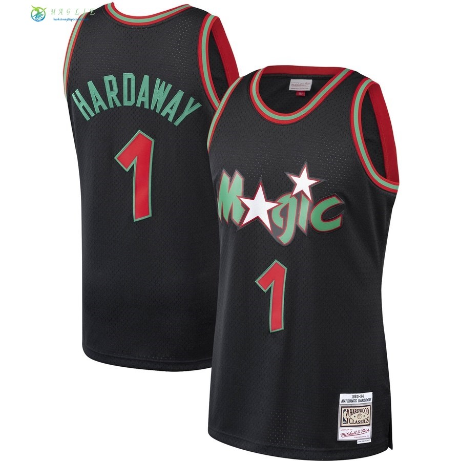 Maglia NBA Orlando Magic NO.1 Penny Hardaway Nero Hardwood Classics