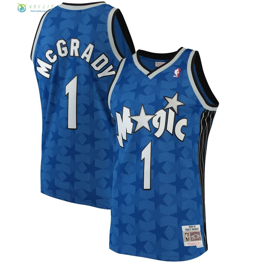 Maglia NBA Orlando Magic NO.1 Tracy McGrady Blu Hardwood Classics 2001-02