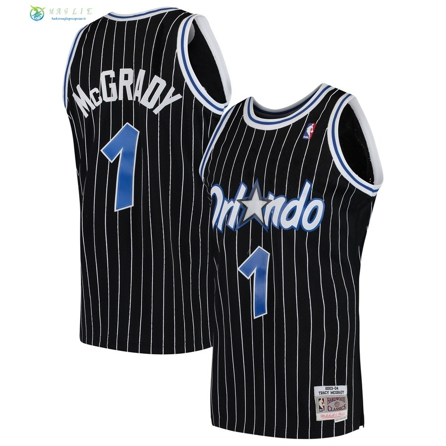 Maglia NBA Orlando Magic NO.1 Tracy McGrady Nero Hardwood Classics 2003-04