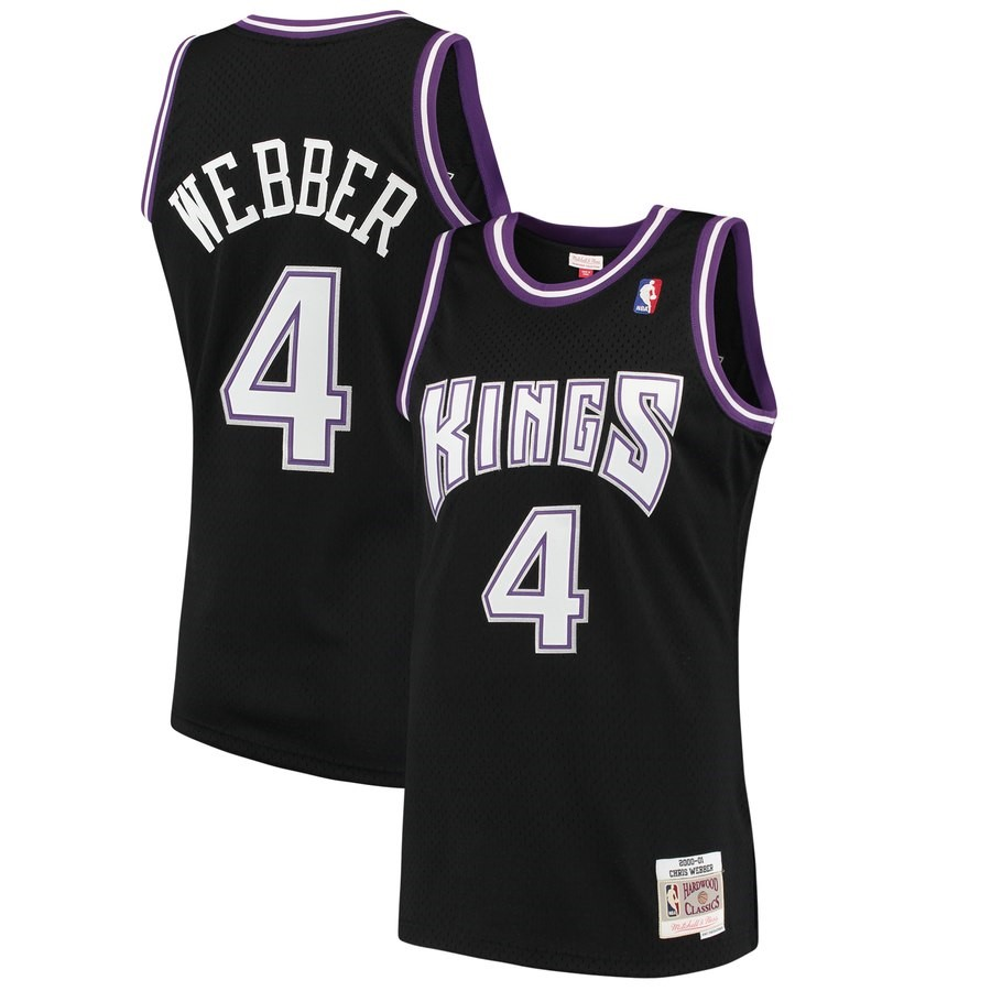 Maglia NBA Sacramento Kings NO.4 Chris Webber Nero Hardwood Classics 2000-01