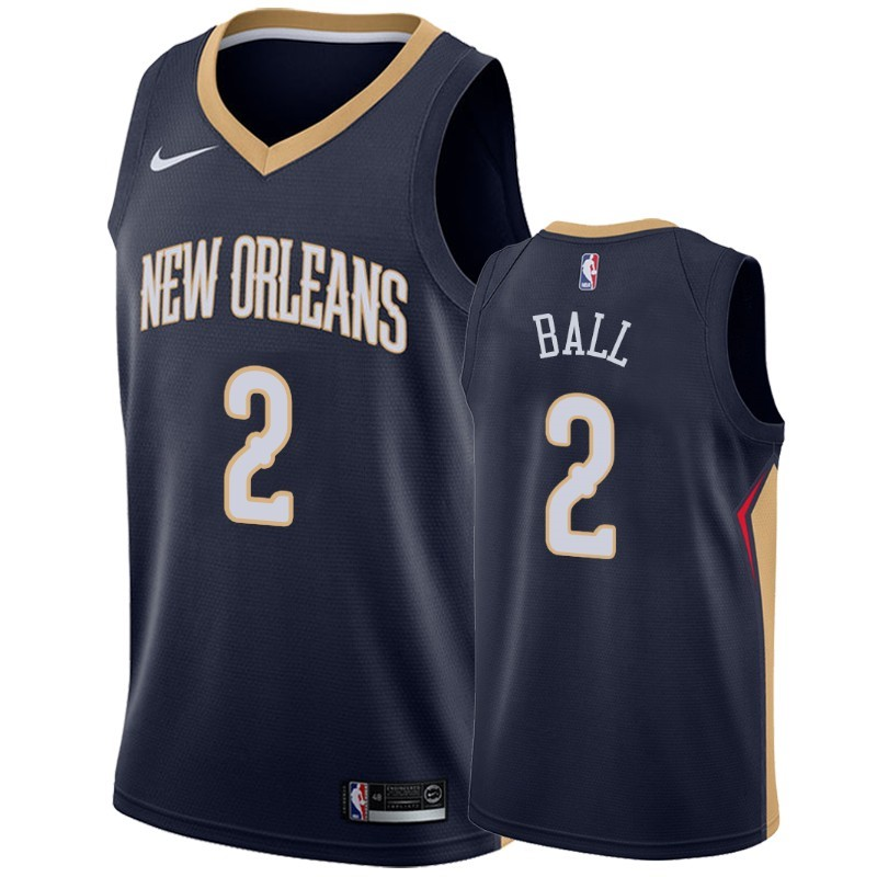 Maglia NBA Nike New Orleans Pelicans NO.2 Lonzo Ball Marino Icon 2019-20
