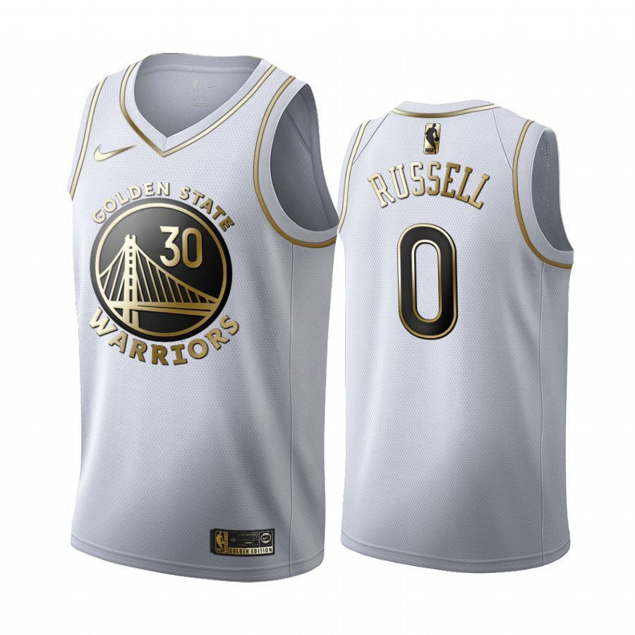 Maglia NBA Nike Golden State Warriors NO.0 D'Angelo Russell Bianco Oro 2019-20