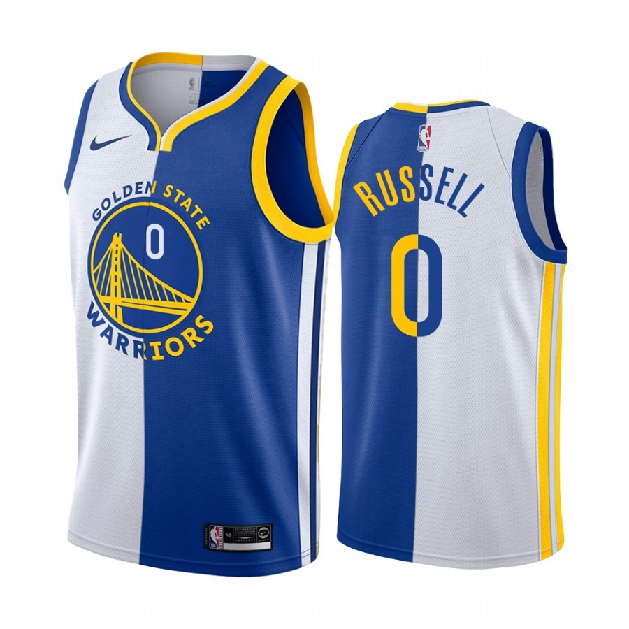 Maglia NBA Nike Golden State Warriors NO.0 D'Angelo Russell Blu Bianco Split Edition 2019-20