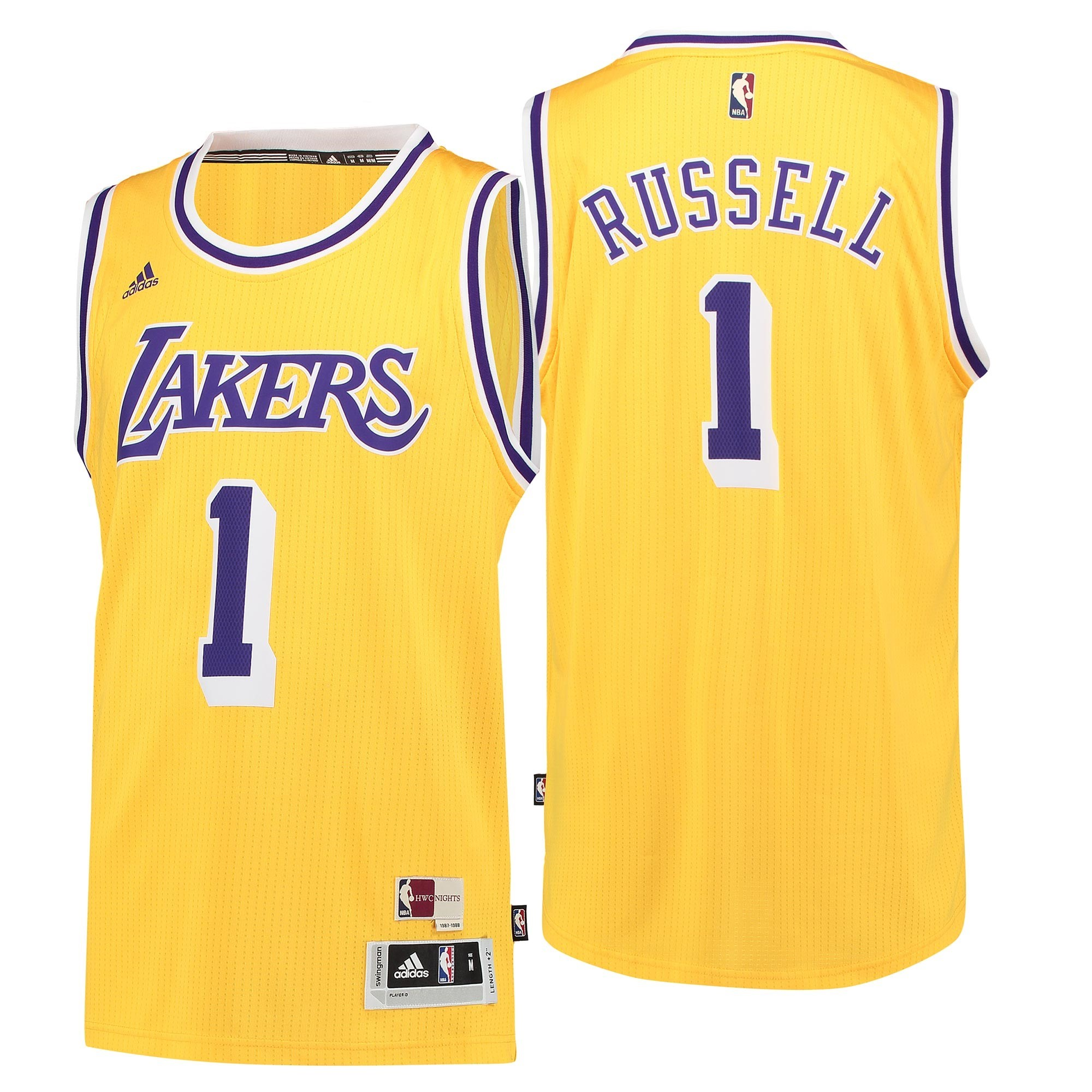 Maglia NBA Los Angeles Lakers NO.1 D'Angelo Russell Retro Blu