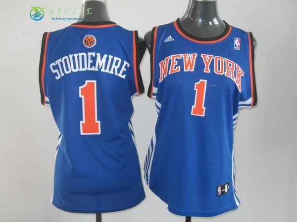 Maglia NBA Donna New York Knicks NO.1 Amar'e Stoudemire Blu Arancia