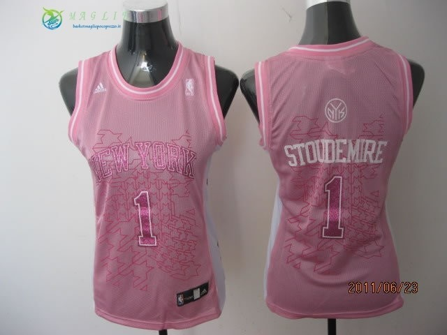 Maglia NBA Donna New York Knicks NO.1 Amar'e Stoudemire Rosa