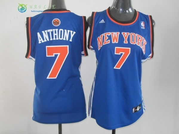 Maglia NBA Donna New York Knicks NO.7 Carmelo Anthony Blu Arancia