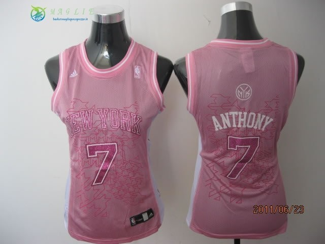 Maglia NBA Donna New York Knicks NO.7 Carmelo Anthony Rosa