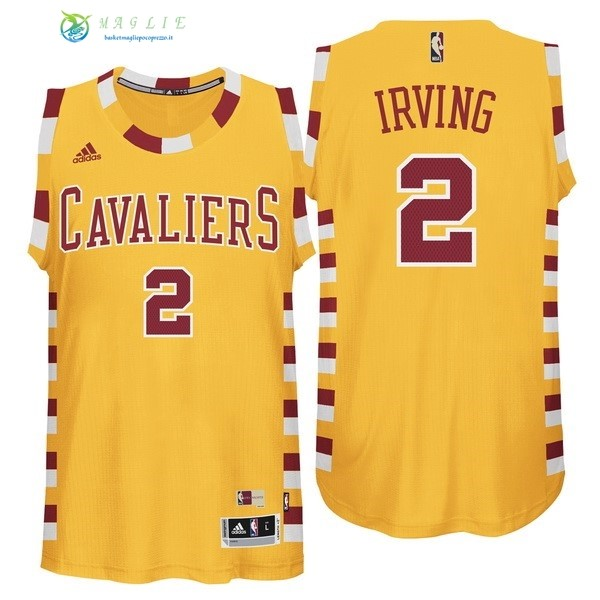Maglia NBA Cleveland Cavaliers NO.2 Kyrie Irving Giallo Pizzo