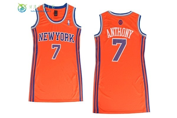 Maglia NBA Donna New York Knicks NO.7 Carmelo Anthony Arancia