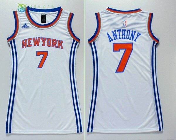 Maglia NBA Donna New York Knicks NO.7 Carmelo Anthony Bianco