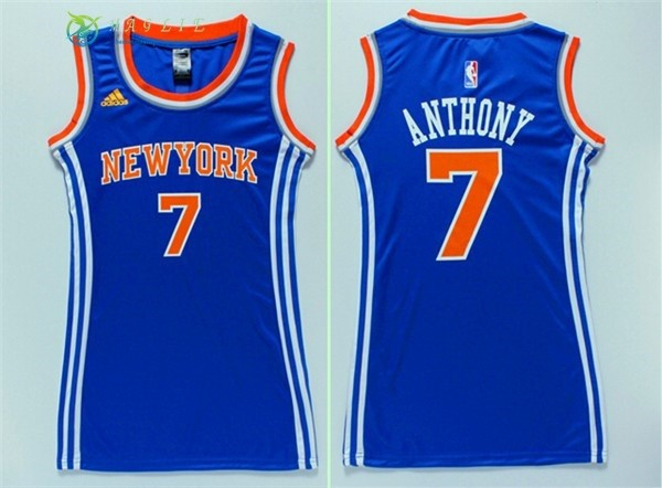 Maglia NBA Donna New York Knicks NO.7 Carmelo Anthony Blu