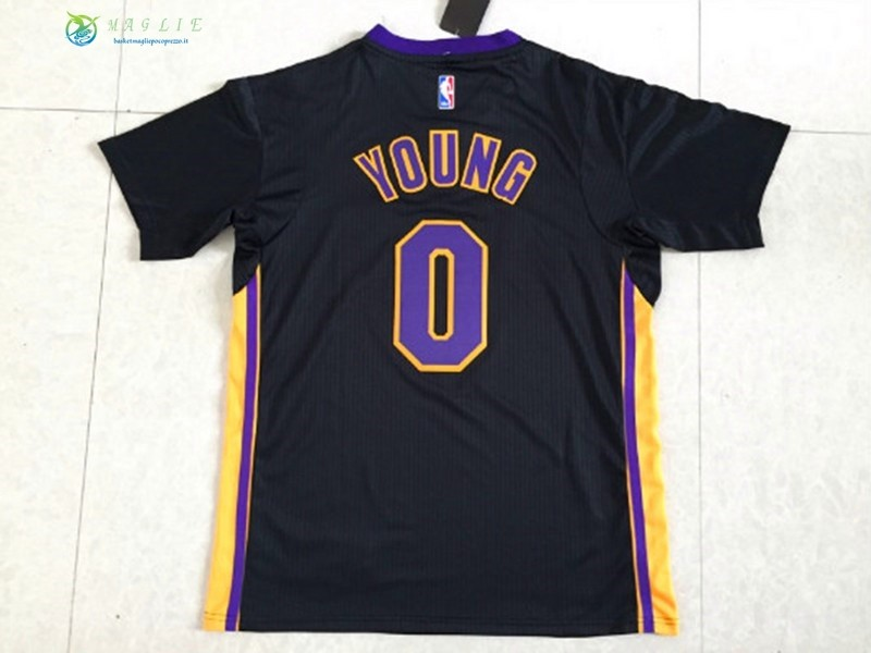Maglia NBA Los Angeles Lakers Manica Corta NO.0 Nick Young Nero