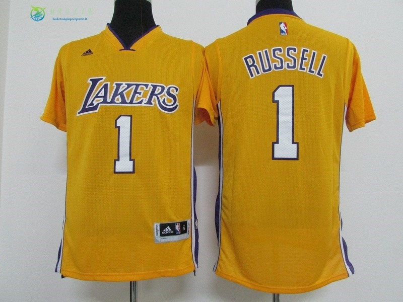 Maglia NBA Los Angeles Lakers Manica Corta NO.1 D'Angelo Russell Giallo
