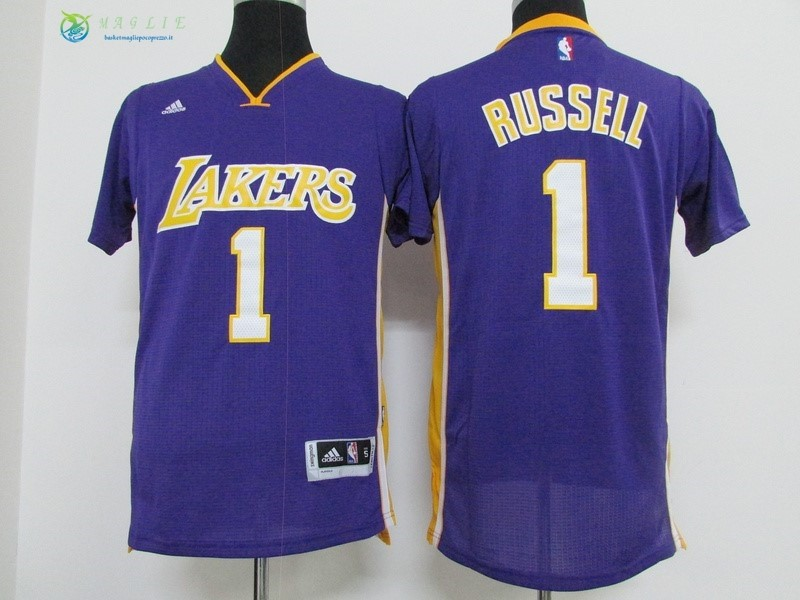 Maglia NBA Los Angeles Lakers Manica Corta NO.1 D'Angelo Russell Porpora