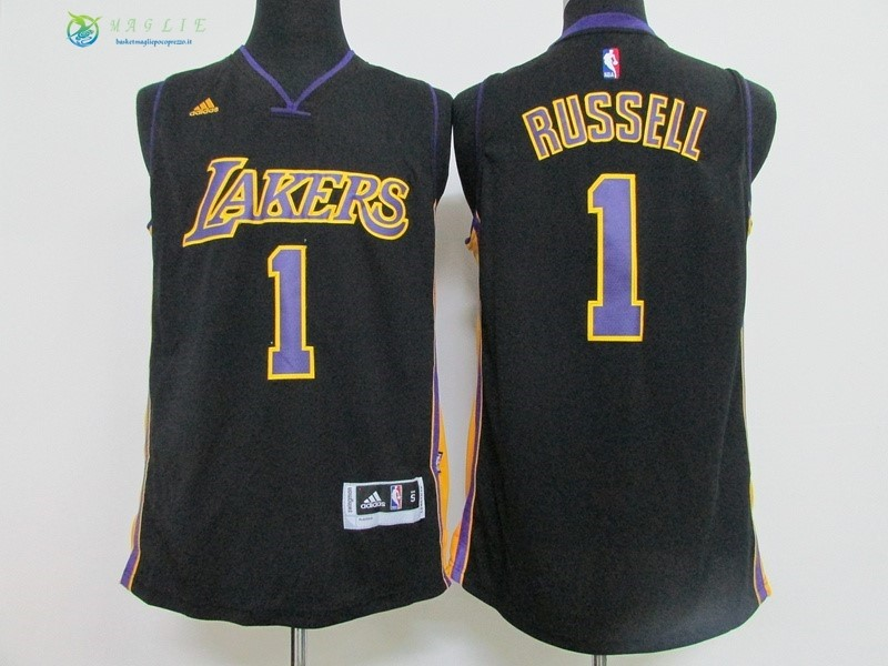 Maglia NBA Los Angeles Lakers NO.1 D'Angelo Russell Nero