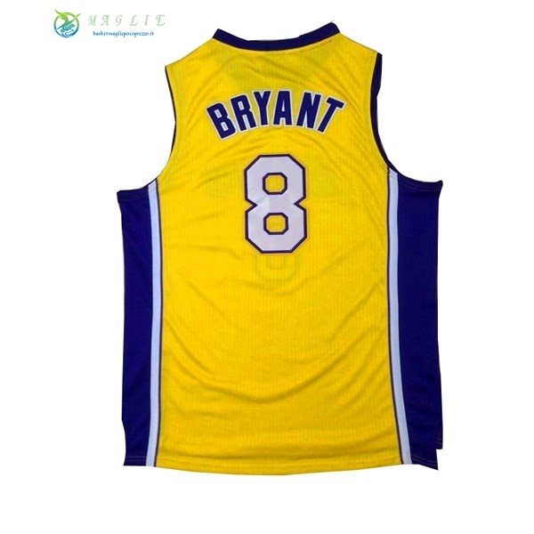 Maglia NBA Los Angeles Lakers NO.8 Kobe Bryant Giallo Porpora