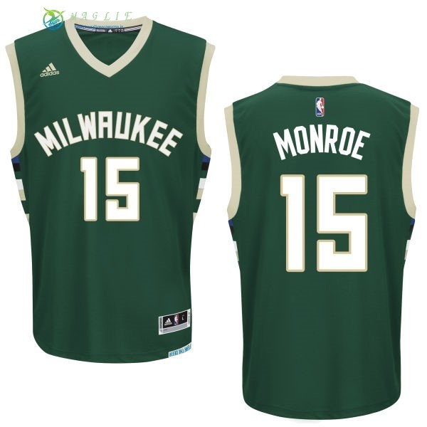 Maglia NBA Milwaukee Bucks NO.15 Greg Monroe Verde