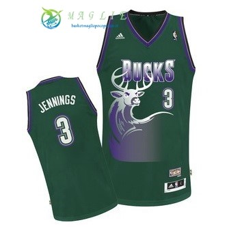 Maglia NBA Milwaukee Bucks NO.3 Brandon Jennings Verde