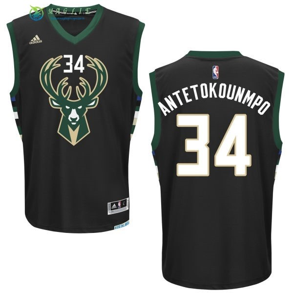 Maglia NBA Milwaukee Bucks NO.34 Giannis Antetokounmpo Nero