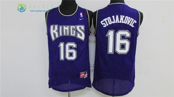 Maglia NBA Sacramento Kings NO.16 Peja Stojakovic Retro Porpora