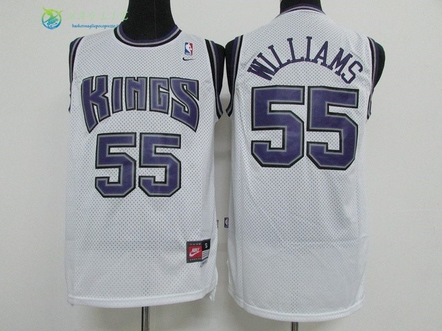 Maglia NBA Sacramento Kings NO.55 Jason Williams Bianco